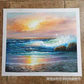 【卖家保真】搬家处理,油画,纯手绘,大海【实物拍摄,质量上乘:终身保真,假一赔万】