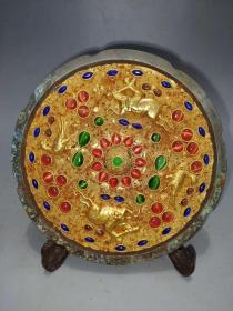 鎏金宝石镜.,多年的收藏,喜欢抓紧.,非常罕见的东西了