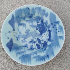 清中期豆青釉青花盘  非常好的学习标本
