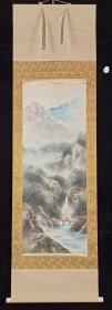 【日本回流】原装旧裱 秀园 国画作品《归渔图》一幅(纸本立轴,画心约3.7平尺,款识钤印:秀园)HXTX199552