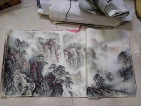 印刷画 6.6斤,估计有两三百张,库存的品种有重复,尺寸不一有的很大张,字是手写的估计是做商品画