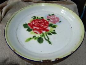 老搪瓷盘 旧茶盘 老货收藏 影视道具 月季花开 35厘米