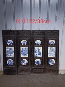民国时期,《山水》瓷板画一套,檀木框,做工精细,保存完好