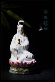 文革美术工艺品景德镇雕塑瓷厂净瓶观音供奉摆件永保平安普度众生