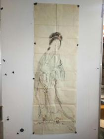 约民国时期 无款 仕女图画稿 作者不详 尺寸128x43