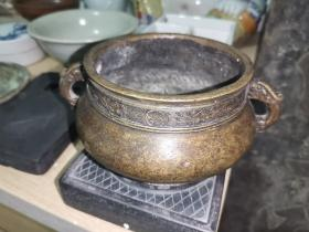 清代夔龙耳古铜炉,包浆熟美。宣德炉。铜香炉。