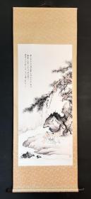 日本回流字画印刷名家山水人物图立轴D2221
