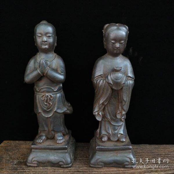 清代早期, 铸铁招财童男童女一对 尺寸 9*9*27厘米(长宽高) 重量 5.7斤
