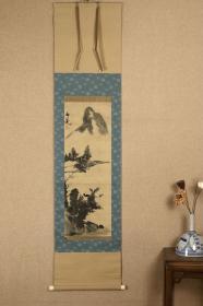 回流字画 回流书画《写意山水》落款:谷文晁(1763~1841),日本江户时代的著名画家。曾广泛学习狩野派、圆山派、南画(水墨画)及西洋画法,并将各画种的表现手法相互借鉴,从而形成自己的风格。纸本 木箱 日本回流字画 日本回流书画