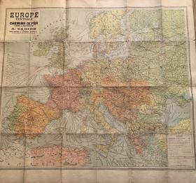 (欧洲铁路古地图) EUROPE nouvelle carte  CENTRALE CHEMINS DE FER LIGNES DE NAVIGATION      106(cm)X98(ccm)