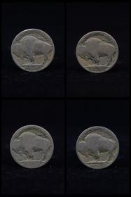 上世纪30年代美国5美分面值印第安人头像野牛镍银硬币(4枚),卖家包邮