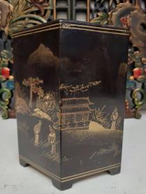 古玩收藏漆器笔筒亭台楼阁文房用品书房摆件高18厘米
