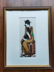 竹久梦二代表作《黑船屋》美人与猫 8开附框 日本进口丝网版画