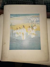 民国时期 日本国史绘画会 狩野探道绘《天孙降临》  【硬卡纸 42.5×34.4厘米】