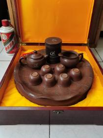 (广西沿海铁路股份有限公司纪念)钦州坭兴陶茶壶茶具10件一套全
