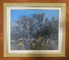 日本昭和时期著名画家野村昭雄1972年油画作品 原生林风景 日本原装镜框,可直接上墙,收藏装饰礼品俱佳。  尺寸:53X45,66.5X59。