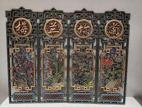 老香樟木纯手工雕刻彩绘镂空工艺漆器四条挂屏《梅兰竹菊》四扇阁四条屏。 单个尺寸高80厘米宽25厘米,重4600克