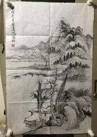 海派画家 竹刻大师 上海文史馆馆员 沈觉初(1914—2008)山水 国画