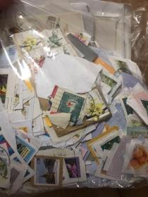 早期老邮票剪片一袋