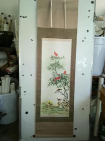 工笔花鸟画立轴 绢本 原装裱 品相很好 作者不识 尺寸100x40