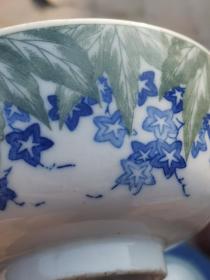 绿花青花小茶碗