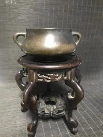清代传世大明宣德年制款蚰耳铜香炉,包浆熟美,内膛干净,尺寸见图,重1264。