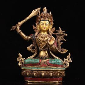尼泊尔收 老铜镶嵌宝石彩绘密宗文殊菩萨一尊 重1780克 高23厘米 宽17厘米