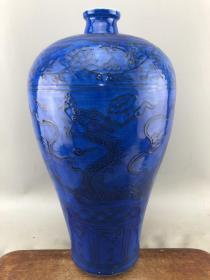 赔钱处理蓝釉盘龙大瓷瓶B5592.