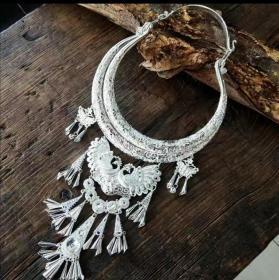 云南特色民族风百搭苗银项圈吉祥孔雀首饰时尚项链舞蹈(演出配饰品)非平时佩戴之物。尺寸以实物为准。