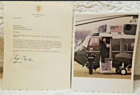 美国总统小布什照片+签名信件