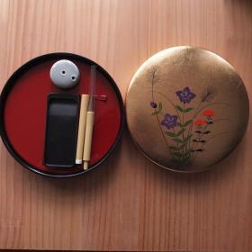 日本书画书法漆器套装毛笔墨砚水滴套装 N902