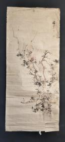 日本回流字画手绘山水图托片D2321
