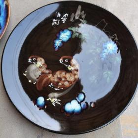 淄博美陶立粉彩釉盘