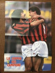 原版足球海报 米兰双雄球星大幅双面海报