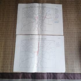 南宁市大、小货车、各种拖拉机禁行、停放示意图(附图一)         南宁市人力、畜力车禁行路线示意图(附图二)。共两张地图。无出版时间。估计是50一70年代的地图。每张36㎝*26㎝