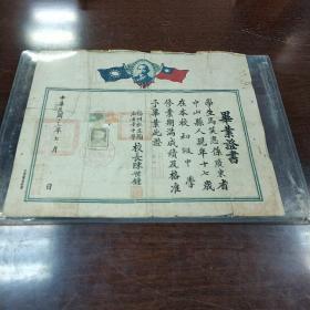 毕业证书(中华民国三十二年7月福州私立陶淑女子中学校长陈世鍾)