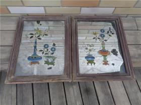 民国时期彩绘文房清供图玻璃镜画一对