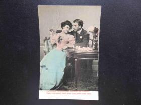 {会山书院}126#欧洲法国1910年(浪漫情侣)手写明信片、junk journal手账素材