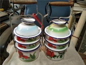 怀旧  收藏  七八十年代多层搪瓷饭盒 一对