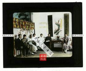 清代民国玻璃幻灯片-----民国时期上海的教会信众圣经学习班课堂老玻璃幻灯