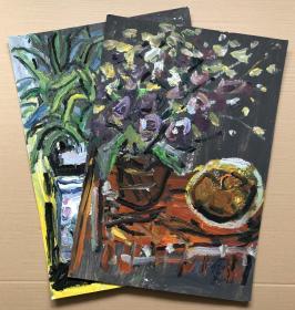 【庞均】纸本油画,静物瓶花,2幅,每幅尺寸:60x42cm