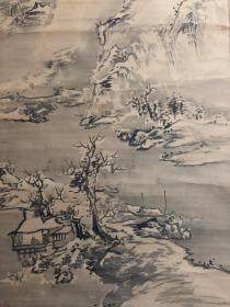 高级轴头,日本近代美术大家中村不折笔雪景图 绢本绫裱,纯天然高级轴头,画心115*43。用笔老辣,真迹无疑