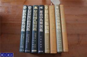 日本原色图鉴系列  昆虫图鉴 上下2册  蝴蝶类图鉴1册  贝类1册  鸟类1册  哺乳类1册 海岸动物1册  热带鱼1册  8册合售  包邮