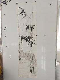 申石伽  墨竹图 尺寸136x34