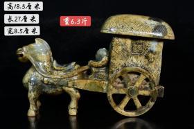 新疆和田籽料(马拉车)摆件,玉质釉润透亮,雕工精湛 造型独特,纯手工雕刻