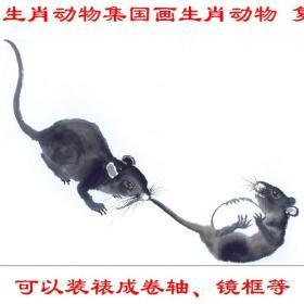 生肖动物集国画生肖动物 复制品 画芯 可装裱 画框横幅横披73F3
