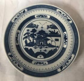 景德镇老瓷青花梧桐盘80年代原人民瓷厂贴花釉下彩圆盘中英文款