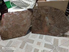 文革时期印刷铜板。。一个是毛主席像。一个是背景放光芒。高40厘米。长55厘米。红铜非常重。厚。