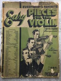 五六十年代旧琴谱 小提琴名曲集五线谱 美版原版