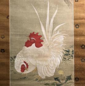 沈南苹大吉大利图,绢本高级绫裱,高级紫檀工艺轴头,画心99*31。